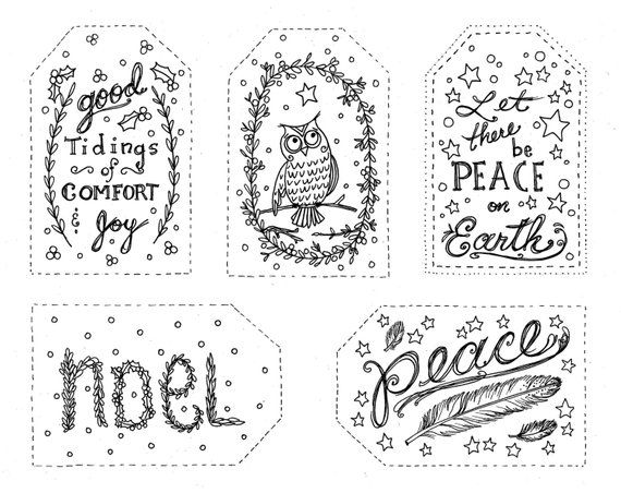 2 Pages Of Christmas Gift Tags To Color Instant Download Holiday