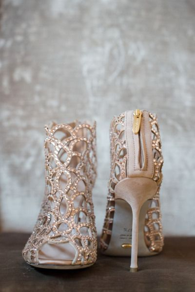 Blush Crystal Wedding Shoes | Ned Jackson Photography | Sparkling Blush, Champagne, and Gold Retro Meets Modern Wedding Inspiration for New Years!
