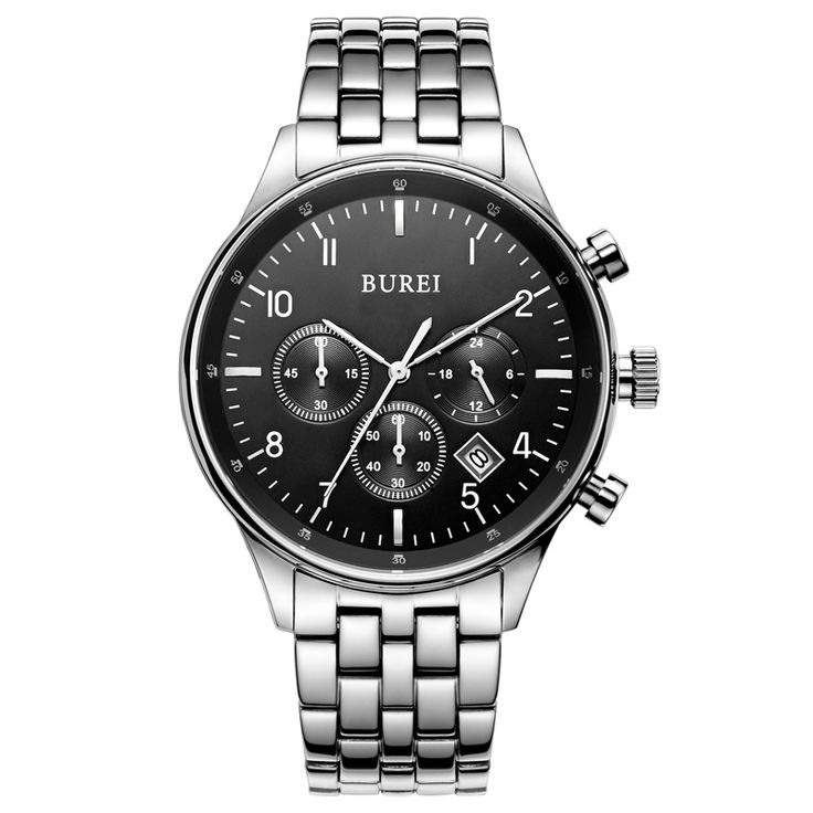 >> Click to Buy << BUREI 7006 Switzerland watches men luxury brand Men's Date Multifunction Chronograph Stainless Steel Black Dial Watch #Affiliate