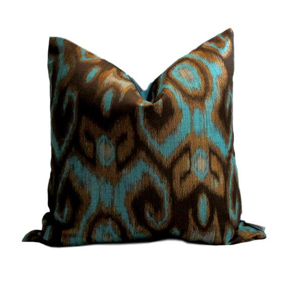 Robert Allen Turquoise Ikat Pillow Cover by PillowsByDwellissimo