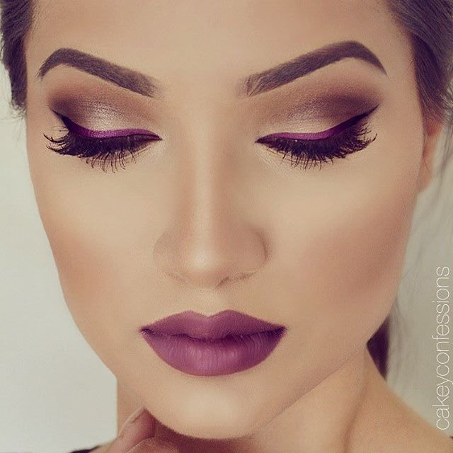 Berry eyeliner + Berry lips. EYES: @sigmabeauty gel liner in 'Royally-Striking'…