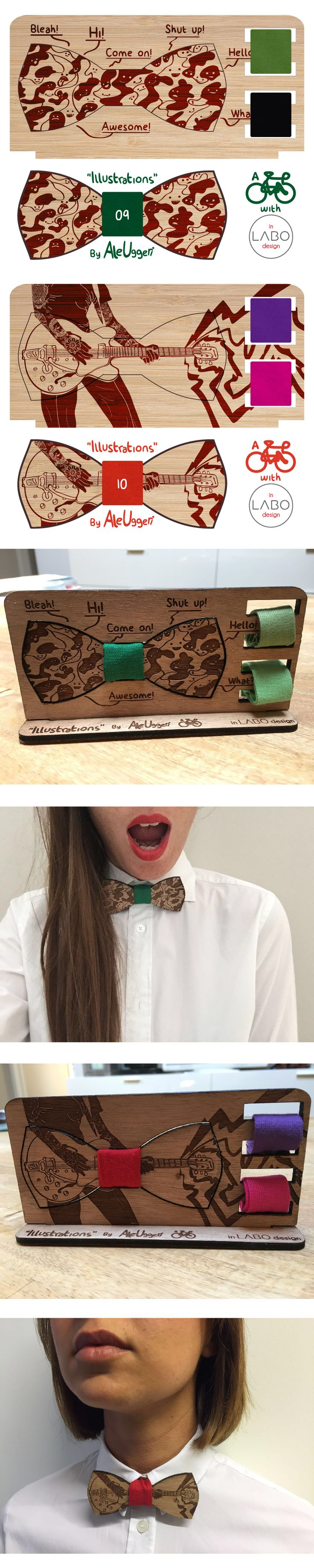 """ILLUSTRATIONS"" by Aleuggeri & InLabodesign  Set of 10 wooden illustrated papillon.  Wooden Bowties #9 #10"