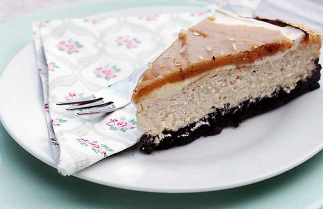 salted caramel cheesecake met Oreo bodem - gemaakt met magere kwark
