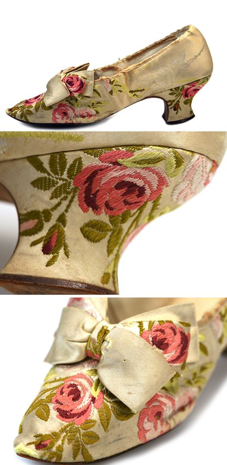 Embroidered Floral Evening Shoes in the Manner of Late 18th Century, USA. c. 1886. Shoe Icons: http://eng.shoe-icons.com/collection/object.htm?id=1448