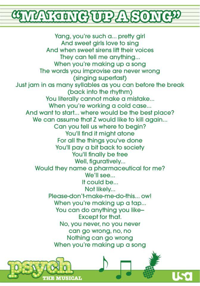 PSYCH THEME SONG LYRICS - YouTube