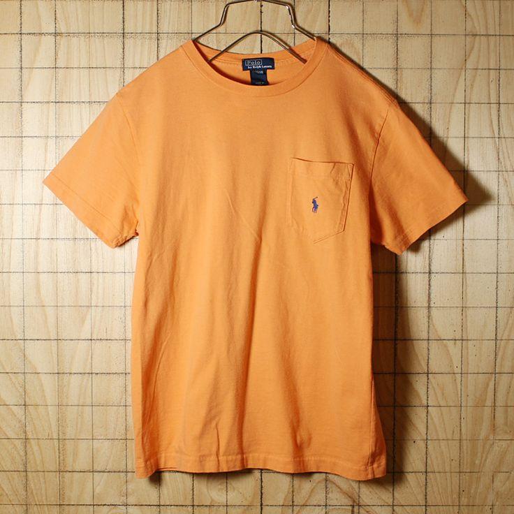 POLO by Ralph Lauren/古着/オレンジ/コットン100%ワンポイントポケTシャツ/メンズXS相当