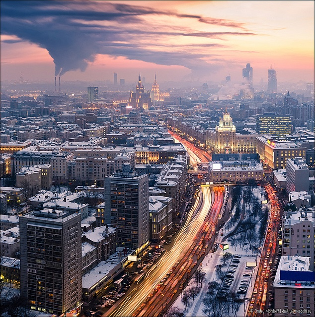 Winter Moscow cityscape at sunset.