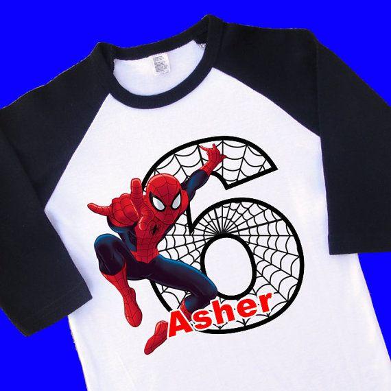 Spiderman Birthday Shirt. Personalized Raglan por ToonsInMyCloset