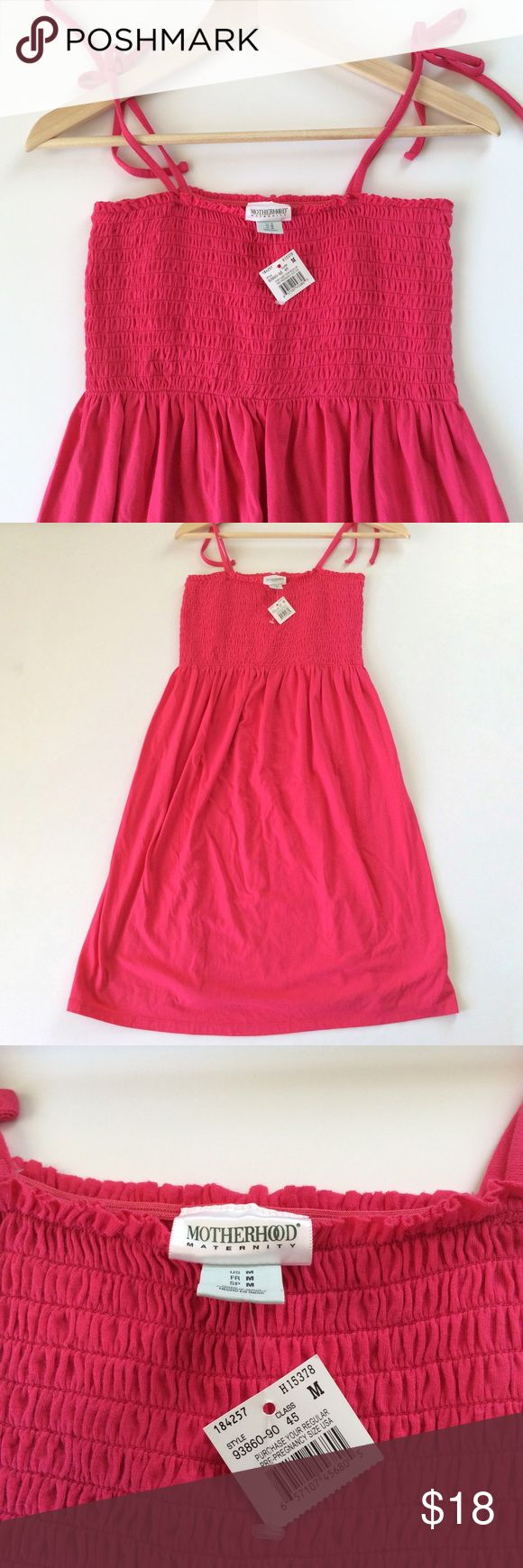 [Motherhood Maternity] Pink Maternity Sundress New with tags casual pull-on summer sun dress from Motherhood Maternity. Color is pink. Tie shoulder straps. Smocked bust. Comfy for those hot summer days during pregnancy. Size M (medium). Could also be used as a beach cover-up even if you aren't pregnant! Motherhood Maternity Dresses