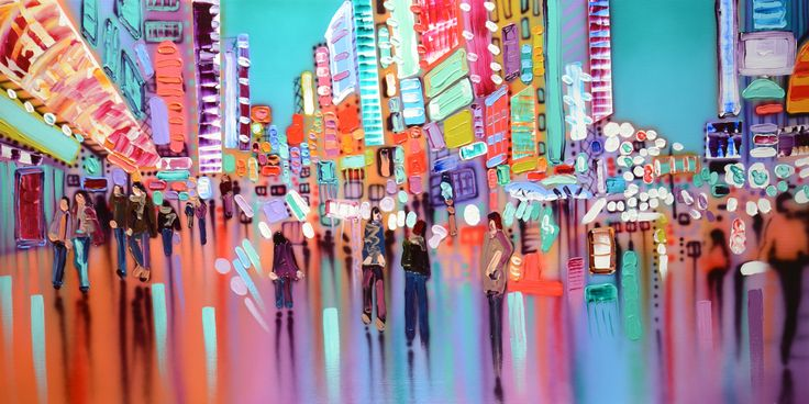 """Vibrant city lights reflecting patterns upon the city streets. """"Only in My Imagination"""" Mixed Media on Canvas 30"""" X 60"""" www.sheilakernan.com"""