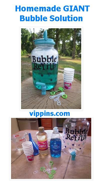 Homemade GIANT Bubble Solution     Items Used:  Refill container at Wal-Mart  2 1/2  cups water and 1/2 cup light corn syrup  mix in a bowl together and microwave four minutes  Gently mix 1/2 cup dish liquid  (I was told Dawn is the best)  I made the letters myself with my Cricut and used Mod Podge to adhere them.    And that is it and it works!  I
