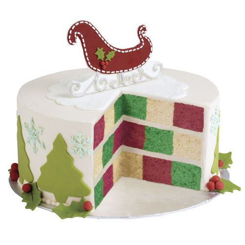 Sleigh Bells Checkerboard Christmas Cake