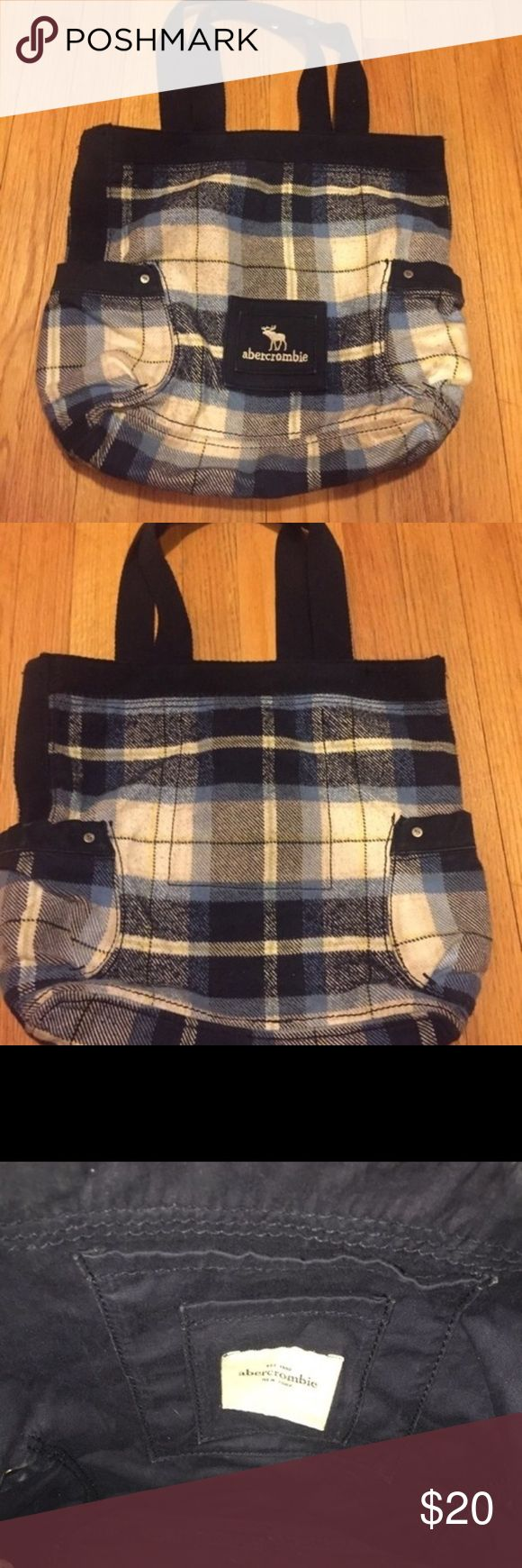 Abercrombie Plaid Tote Blue plaid preppy tote. Was used for like a month for my books, and then never again. Abercrombie & Fitch Bags Totes