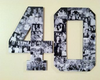 Custom Alphabet Collage Numbers for Milestone Birthdays, 40th Birthday Gift, 50th Wedding Anniversary