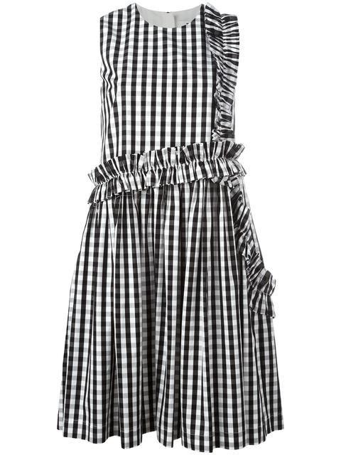 MSGM ruffled detail checked dress