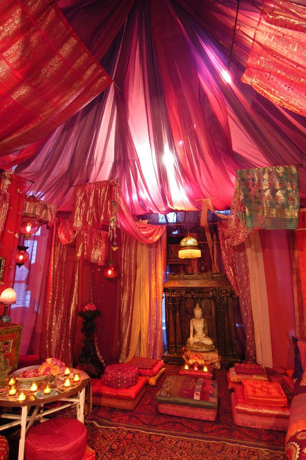 Red Tent by ABC Carpet & Home. Wish I could do a room like this in my home.