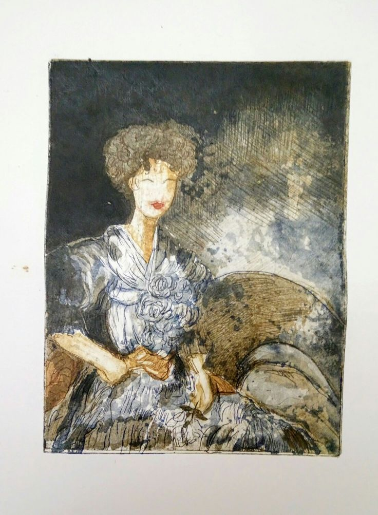 """Maude"",multi coloured etching,three plates,20cmX15cm"