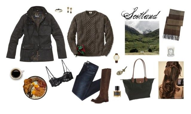 """Barbour & Breakfast in Scotland"" by lsbella ❤ liked on Polyvore featuring Elle Macpherson Intimates, Oscar de la Renta, Edition Perfumes, LUCI, Dorothy Perkins, Longchamp, Diptyque, Urban Outfitters, Black Brown 1826 and rustic"