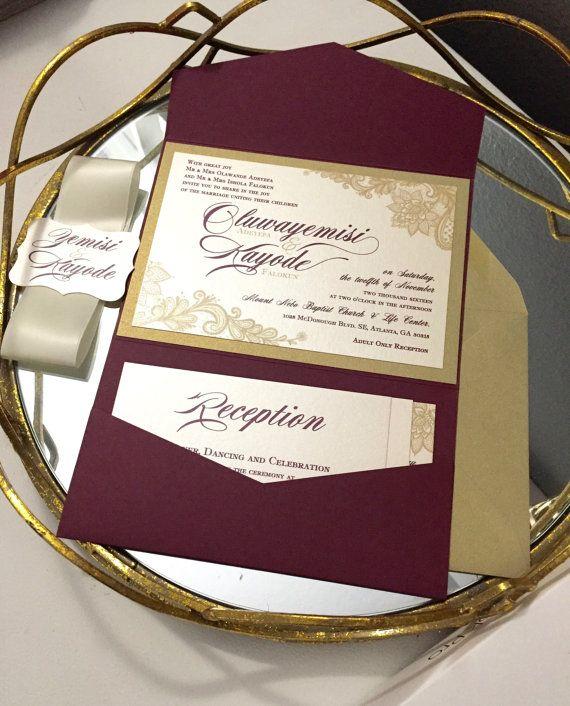 Best 25 pocket invitation ideas on pinterest homemade wedding gold and burgundy marsala lace pocket wedding invitation not a sample listing stopboris Images