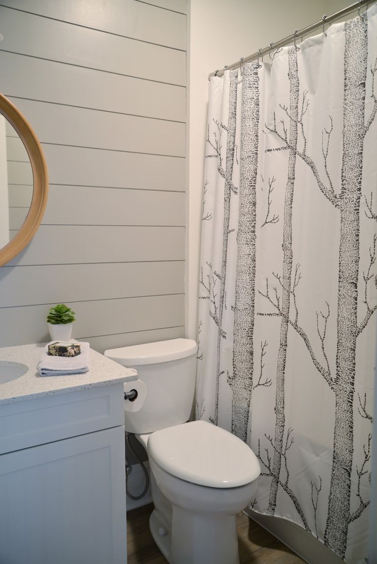 Modern farmhouse farmhouse bathroom austin by redbud custom - Modern Farmhouse Bathroom Grey Painted Shiplap In The Bathroom Woods Shower Curtain Ramblingrenovators