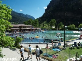 Ouray, CO. The Hot Springs pool - nothing like soaking in the hot springs surrounded by mountains watching the sun set!! :-)