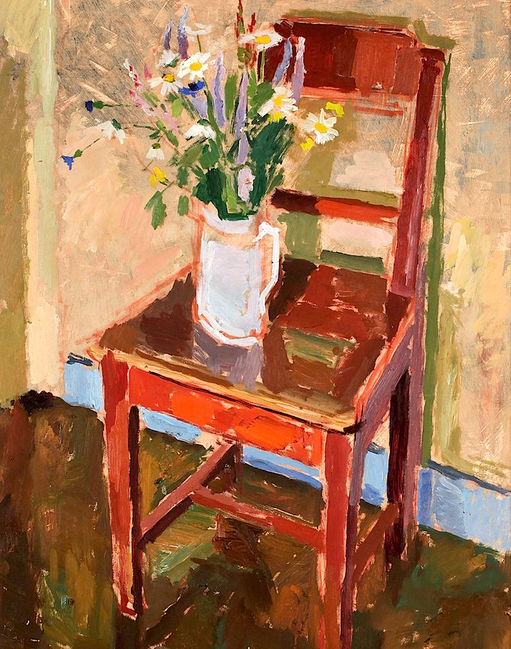 Blooming Brushwork ❀   Garden And Still Life Flower Paintings   SVEN OLOF  ROSÉN   Wild Flowers And A Chair