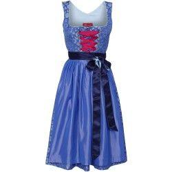 Dirndl in Royalblau mit Taftschürze von Alpenmädel. Zu leihen bei dresscoded.com.#dresscoded