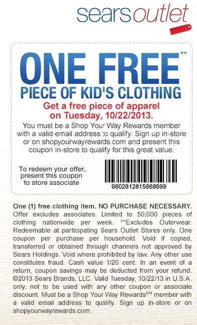 Sears: Free Clothing Printable Coupon