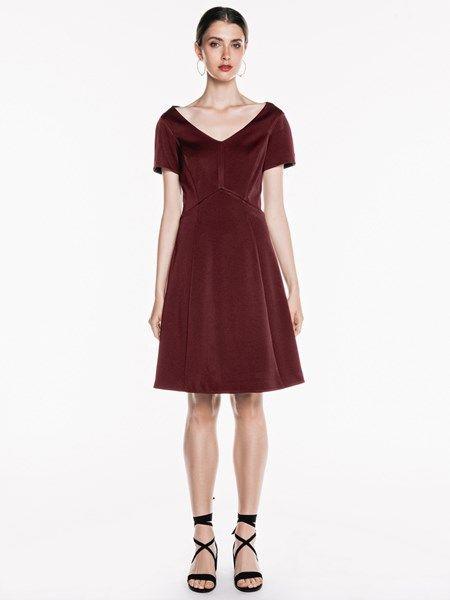 Bonded Sateen Fluted Hem Dress