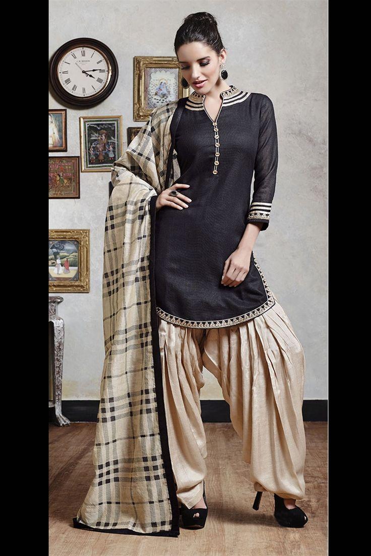 beige & black color Patiala suit
