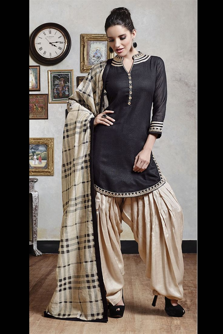 beige & black color Patiala suit