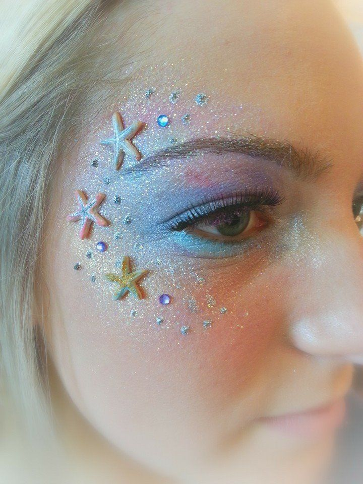Mermaid Makeup. Artist: Leslie Heidner, Epic Body Art. Powered by Cameleon Paint USA. Fanstasy princess starfish seashell ombre jewels pink blue glitter makeup artist face painting halloween costume fairy sea body painting