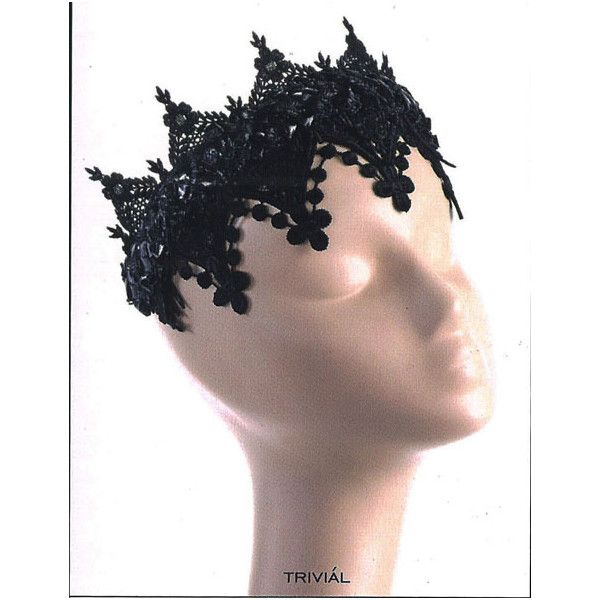 The Dark Queen Lace Headpiece by Trivial (41.640 RUB) ❤ liked on Polyvore featuring accessories, hair accessories, costumes and hats