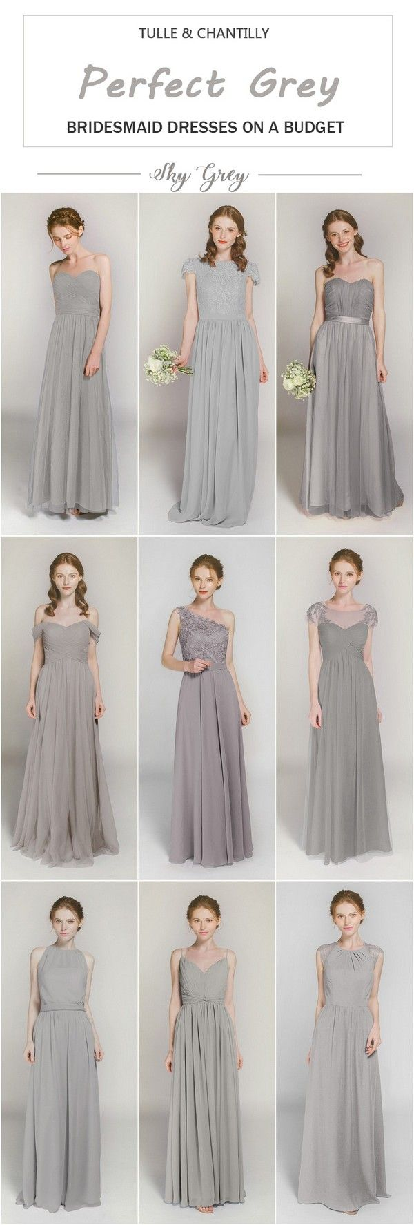 Sky Gray bridesmaid dresses on a budget