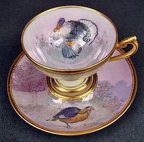 4:00 Tea...Lamm Dresden...Game Birds...Shades of Purple with Gold Gilt...Demitasse Cup & Saucer: