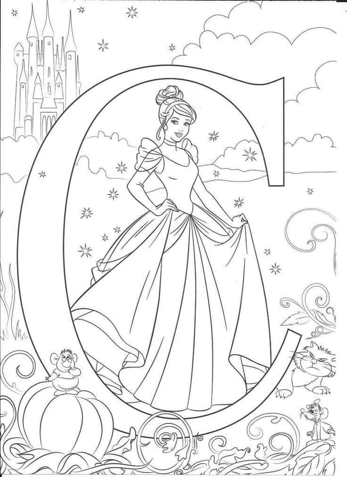 You Can Get Free Printable Disney Alphabet Letters For Your Kids To Color Cinderella Coloring Pages Disney Coloring Sheets Abc Coloring