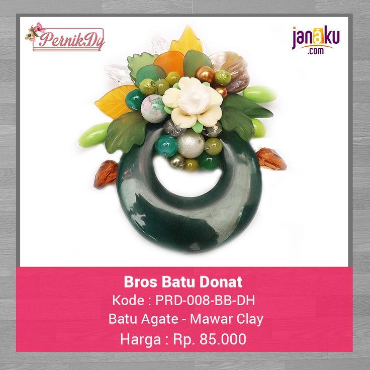 Bros Batu Donat Hijau - Pernikdy - IDR 85.000 - Batu Agate bentuk donat kombinasi dengan mawar clay dan manik manik kaca  Ukuran 8 x 7 cm