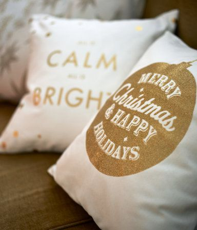 White & gold Christmas pillow.... $5.99 @ H&M - SO cute! Love these pillows #af