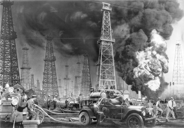 Oil well fires, Southern California, USA, 1931