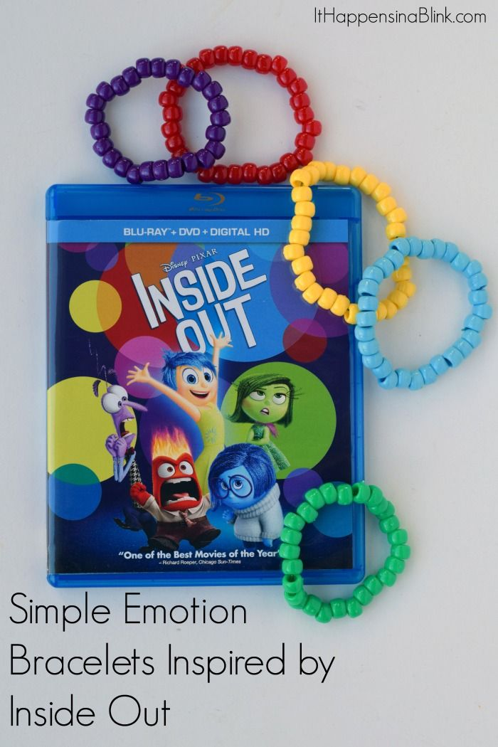Easy Bracelets Inspired by Inside Out | AD #InsideOutMovieNIght | Use a few basic craft supplies to make bracelets inspired by the emotions in the movie Inside Out. Use as a beginner jewelry project or as a movie night craft