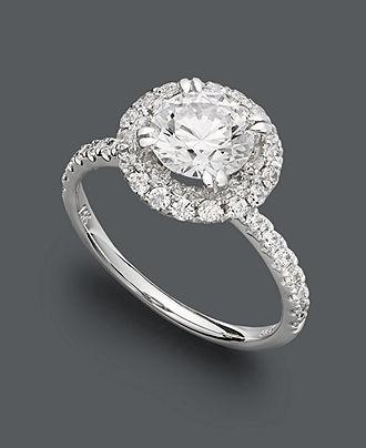 Arabella 14k White Gold Ring, Swarovski Zirconia Round Pave Engagement Ring (3-1/2 ct. t.w.) - Rings - Jewelry & Watches - Macy's