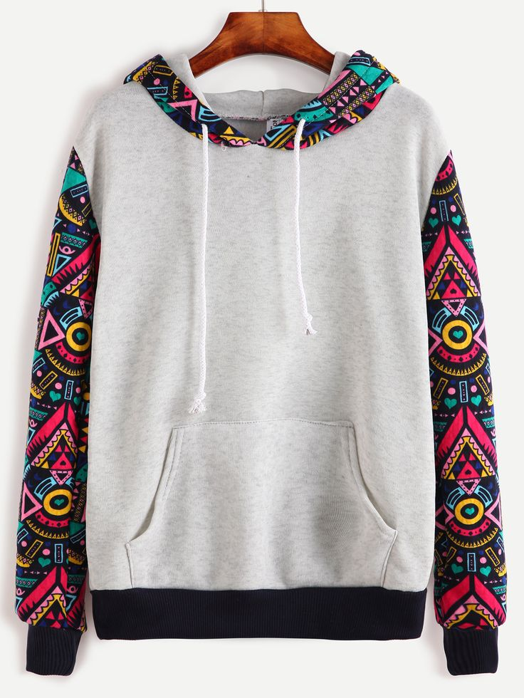 Shop Grey Contrast Sleeve Hooded Sweatshirt online. SheIn offers Grey Contrast Sleeve Hooded Sweatshirt & more to fit your fashionable needs.
