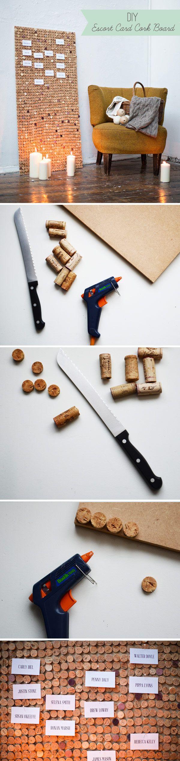 DIY Project: Escort Card Cork Board | onefabday.com #diy
