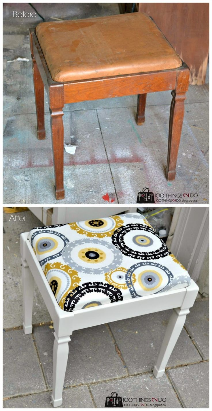 Before  After - sewing stool makeover
