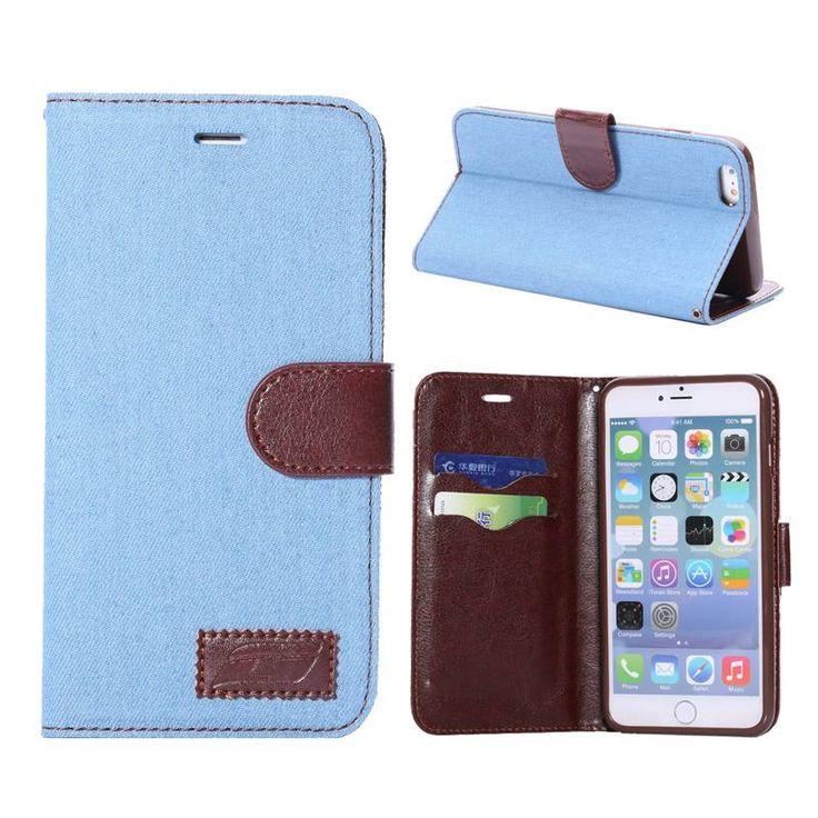 Lichtblauw Jeans bekleed bookcase hoesje voor iPhone 6 Plus