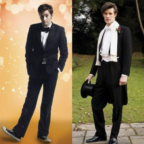 """""""Here's David Tennant in his signature style as The Tenth Doctor. Ever dapper in a suit, but always paired with Chucks. But Matt Smith went full English in a smart tux with white bow tie (bow ties are cool) as The eleventh Doctor. Also, you have to have cool hair. Matt and David have very, very cool hair."""" --Catharina of the BrideInspired blog"""
