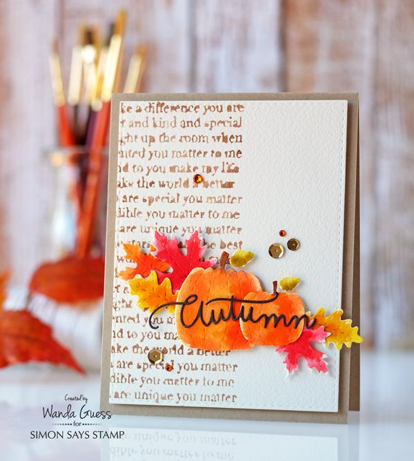 Autumn watercolor card. Distress inks. Wanda Guess for Simon Says Stamp.