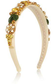 OMG I NEED THIS <3 Dolce & Gabbana Haarband aus Seide mit Swarovski-Kristallverzierung | NET-A-PORTER