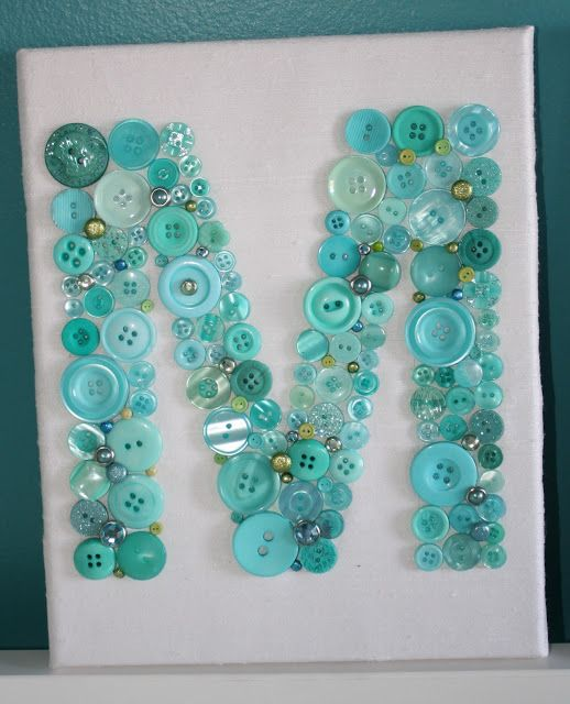 Button Letter Nursery Artwork Tutorial - fabric covered canvas, buttons and brads. ModernMommyhood.com