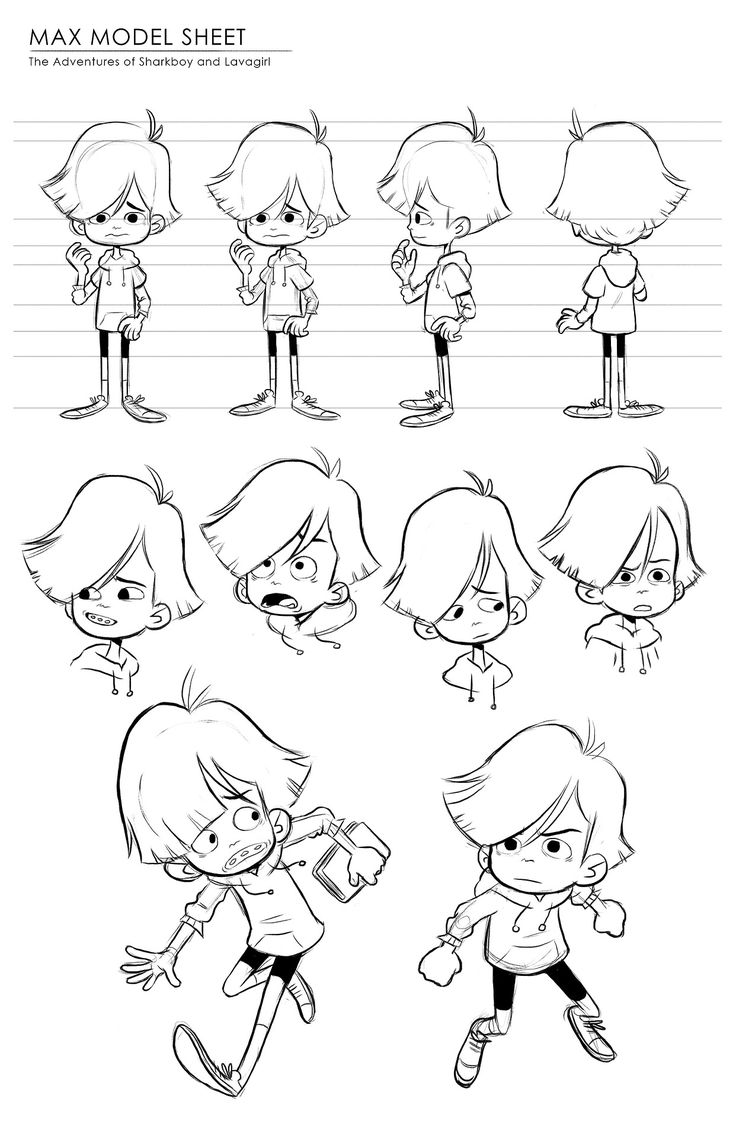 A model sheet and explorations for Max from Sharkboy and Lavagirl! I'll be doing the other characters in a lineup for my final :)